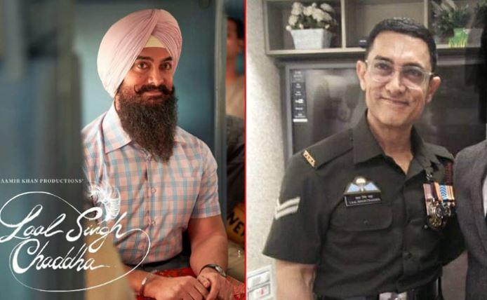 Aamir's army uniform bears the name Laal Singh Chaddha above the right chest pocket