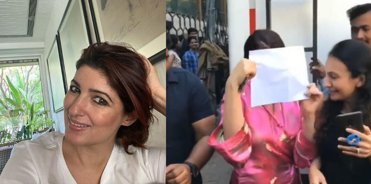 Twinkle Khanna was seen hiding her face with a while piece of paper