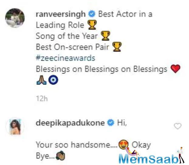 Deepika couldn't help gushing over pictures posted by her hubby, actor Ranveer Singh, from an awards ceremony that happened on Friday night.