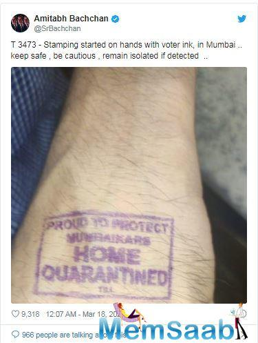 Late Tuesday night, the actor tweeted a picture of his hand with a 'Home Quarantined' stamp on it.