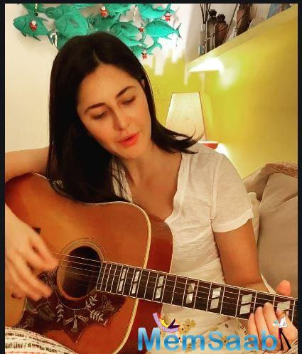 The 36-year-old actor in an Instagram video was seen trying to ace the chords on the guitar and singing along with it.