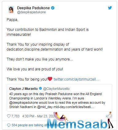 Earlier in the day, Prakash Padukone's daughter-actress Deepika penned a heartfelt note for her father.