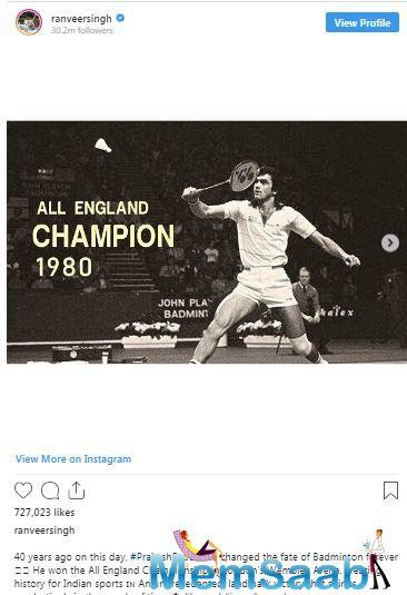 He also shared a few pictures of Prakash Padukone from the championship.