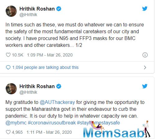 Bollywood star Hrithik Roshan contributes Rs 20 Lakh towards the caretakers of mumbai