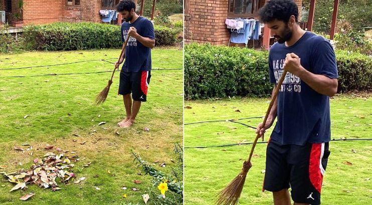 The 'Malang' actor took to Instagram to share a picture of his cleaning moment with his followers