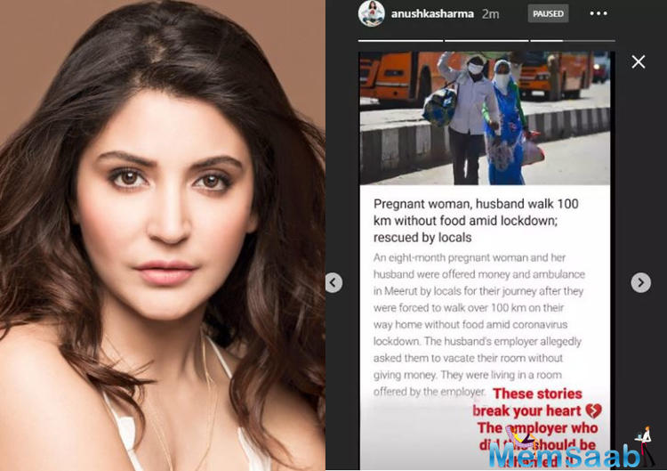 Anushka shared a news piece about a pregnant woman and her husband who walked 100 km without food