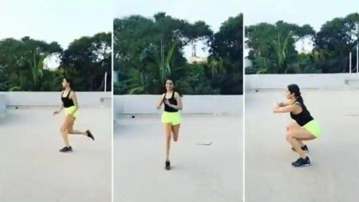 Shraddha can be seen doing squats and running backwards and forwards