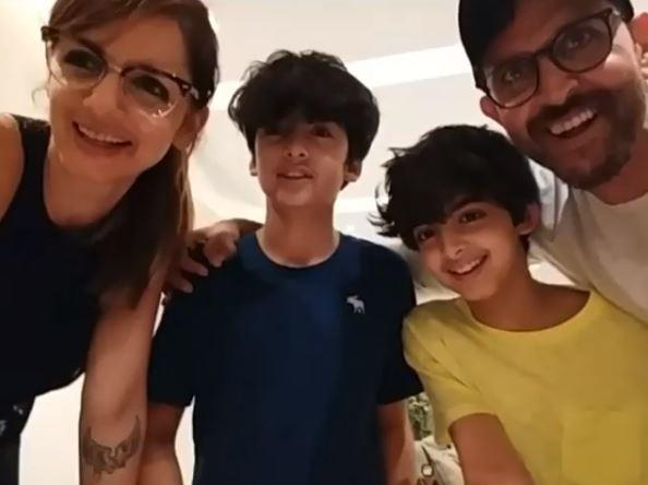 Hrithik shared a video of his son Hrehaan's birthday celebration at home
