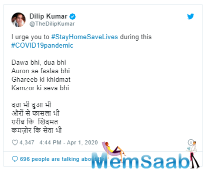 Bollywood veteran Dilip Kumar has been meticulously doing his bit on social media to inform and educate his fans about the COVID-19 outbreak.