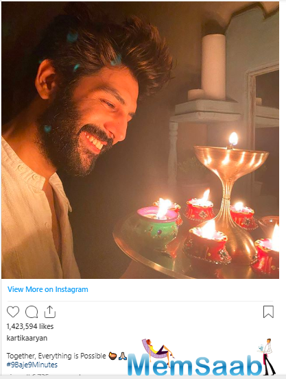 Next in line is Kartik Aaryan, who also shared a heartening picture of himself and wrote-