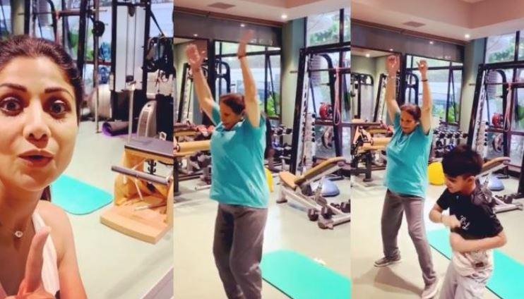 Shilpa is seen cheering for Usha as she works out at their home gym