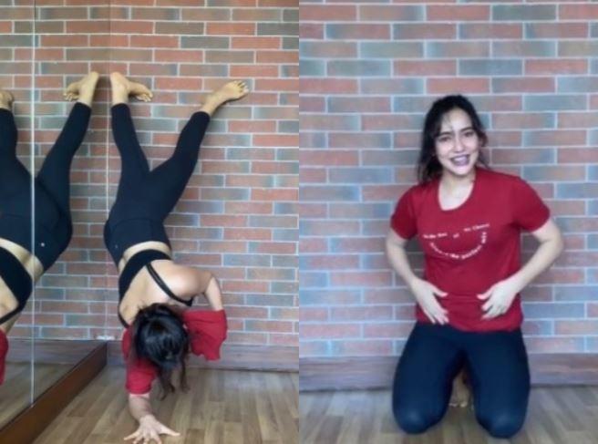 Neha, aced the challenge despite having a broken right wrist