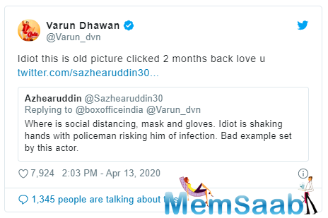 The actor recently shared an endearing picture with a police officer and praised Mumbai Police for their work during the COVID-19 outbreak.