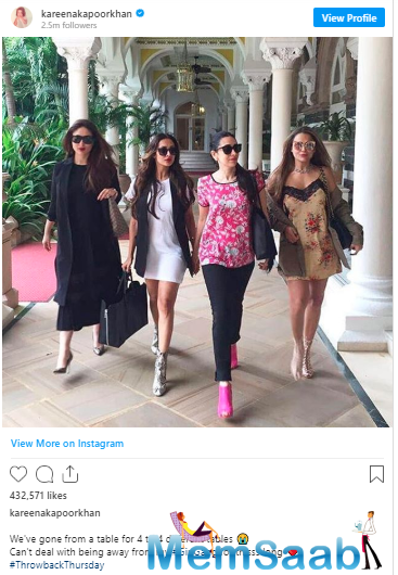 The picture posted by the 'Jab We Met' actor featured her and her star sister Karisma Kapoor along with Kareena's best buddy Amrita Arora and her sister Malaika Arora.