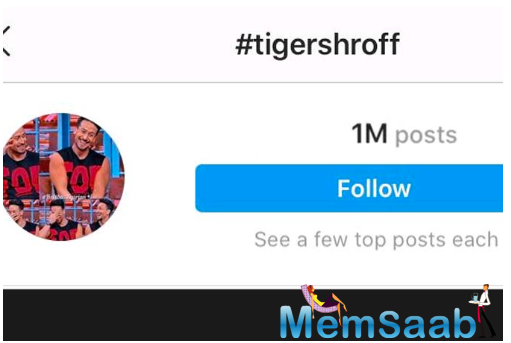 Recently, Tiger Shroff reached a staggering one million hashtags in the name of #TigerShroff on a popular social media website.