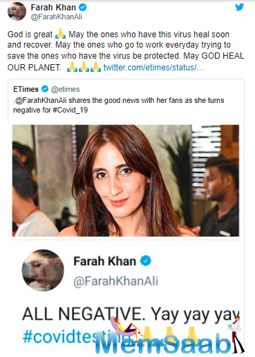 Earlier, Farah had tweeted that she had reported Bollywood actress Kangana Ranaut's Rangoli Chandel's account for targeting a specific community.