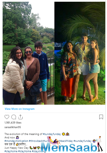 In the picture, we can see two versions of the family, the old and the new, and rightly captioning the picture, the actress wrote-