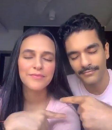 Neha Dhupia posted a video in which she can be seen twinning with her husband