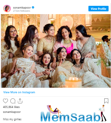 Recently, she had shared a throwback picture of her 2018 wedding celebration. Sharing the picture, she wrote that she is missing her girl gang during the lockdown.