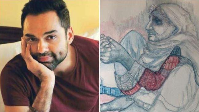 Abhay posted a picture of his artwork that shows a poor lady begging