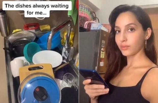 Nora shared a video of herself talking to the pile of dishes kept in the sink