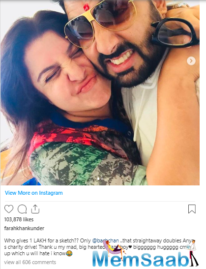 And now, actor and good friend Abhishek Bachchan has come forward and given Rs. 1 lakh for this sketch and completely bowled over Farah. She couldn't contain her excitement and this is how she expressed her joy.