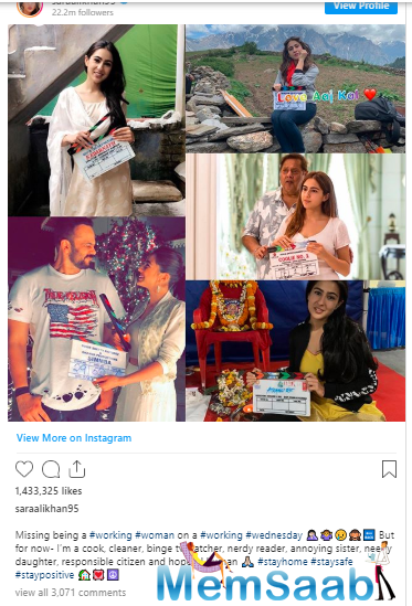 Sara Ali Khan shared a collage of five pictures, each one being a picture of her holding the clapperboard of the movies she acted in.