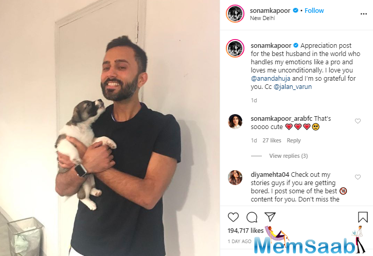 Spilling love all over Instagram, actor Sonam Kapoor Ahuja on Thursday posted a throwback picture from her trip to Paris with husband Anand Ahuja.