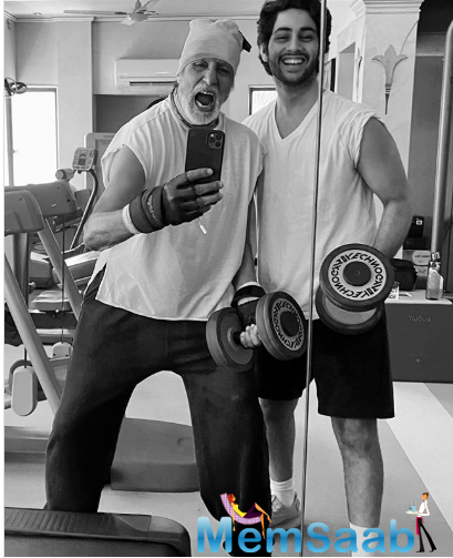 Recently, Big B shared a high-energy and quirky picture on Instagram of him with his grandson Agastya Nanda.