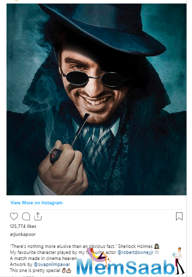 The 'Ishaqzaade' star put out a picture on Instagram where he is seen transforming into the fictional character Sherlock Holmes in a painting, just like the original character from the series.