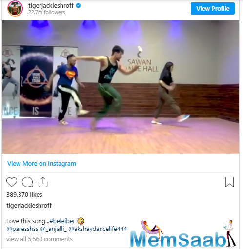 Tiger is a self-confessed 'Belieber', the moniker used by Justin Bieber's fans, and took to social media to share a throwback video of himself dancing to the singer's popular track Yummy.