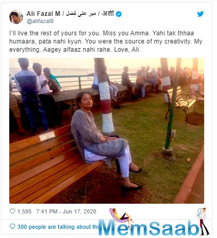 Bollywood actor Ali Fazal's mother has passed away in Lucknow, Uttar Pradesh.