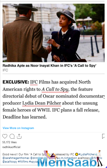 The actress now announces the release of her international project 'A Call To Spy'.