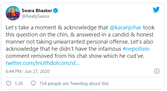 Bhasker had tweeted that KJo should be acknowledged for responding to Ranaut's nepotism comments on his show, Koffee with Karan, and not deleting it.