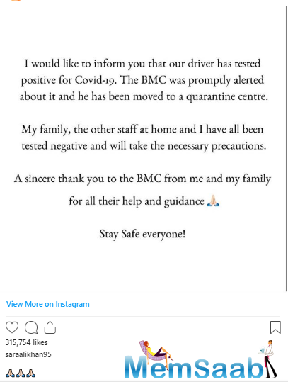 Sara actor took to Instagram to share the news. In her Instagram post, she said that Brihanmumbai Municipal Corporation (BMC) was promptly alerted about it and the driver has been moved to the quarantine centre.