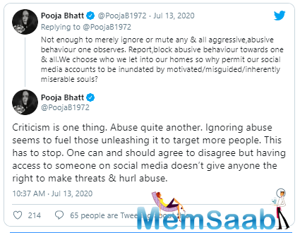 She also stated that it was not enough to block these abusers and these aggressive and abusive behaviours.