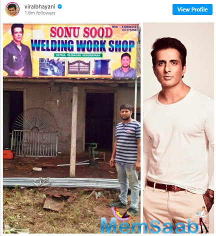 Owning to his philanthropic work in these last few months, a man, whom the actor had airlifted from Cochin to Odisha, has opened a welding shop in his name to pay him a tribute.