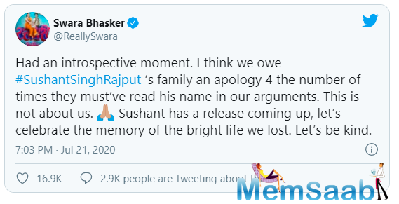Swara Bhasker says the family of late actor Sushant Singh Rajput deserves an apology for the way his name has been dragged into various arguments