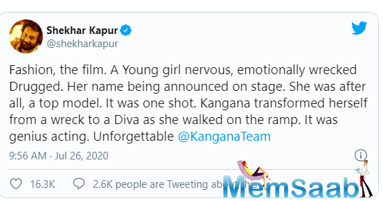 Recently, director Shekhar Kapur took to Twitter and praised the actress. He praised her about how Kangana transforned herself from a wreck to a Diva and called her a genius actor.