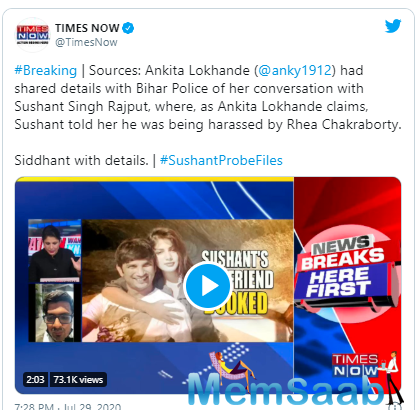 A report stated that during her visit to Patna later, Ankita had reportedly shown the above-mentioned chats to Sushant's sister Shweta Singh Kirti.