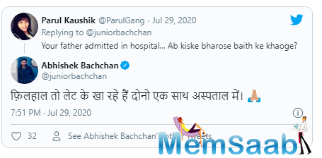Big B and Abhishek are quite active on social media and often share health updates for their fans. Recently, Abhishek gave it back to a troll who made fun of his current situation.