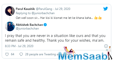 "Soon after the user replied back to Abhishek's tweet and wrote, ""Get well soon sir... Har kisi ki kismat me let ke khana kaha..."" The actor also replied to the tweet and wished for her healthy life."