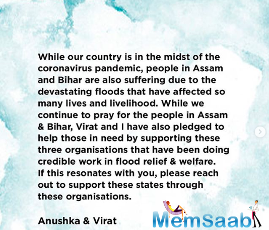 Now, with floods ravaging Assam and Bihar, India's most loved couple have again stepped out to lend support to the victims in these two states.