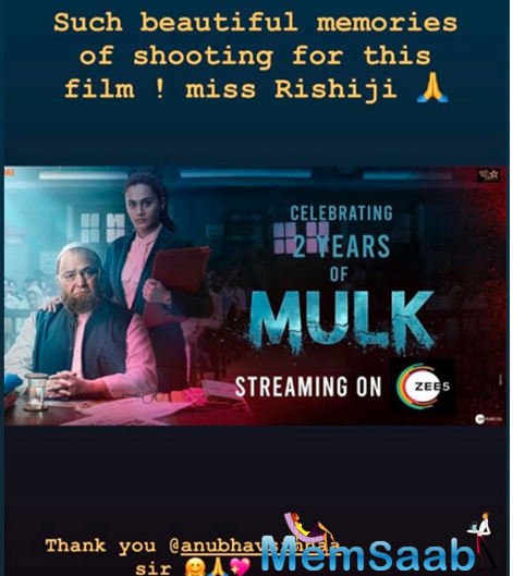 Interestingly, Mulk was shot in 27 days, much to the late actor's surprise.