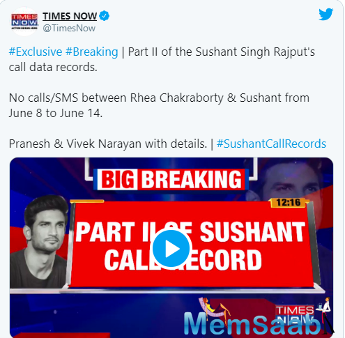 While the Central government has now accepted the request of Bihar government recommending a probe by the Central Bureau of Investigation (CBI) in the case, Times Now has revealed the second part of Sushant's call date records.