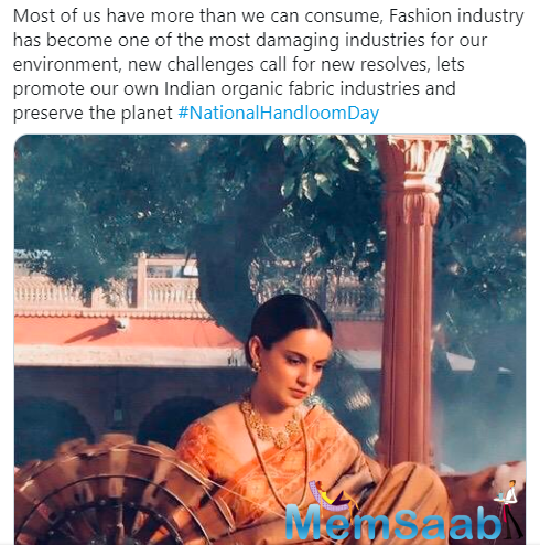 The actress has always spoken of her love for ethics and Indian outfits and design.