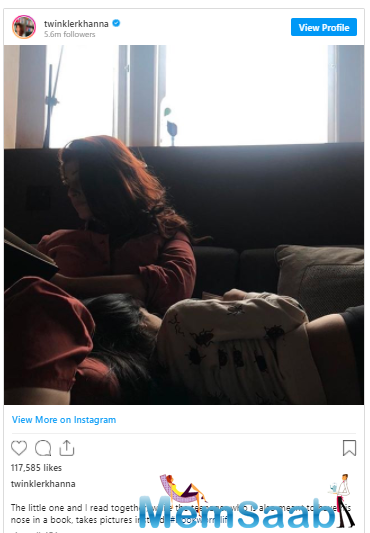 'Mrs Funnybones' Twinkle Khanna, who is an avid reader and an ace writer, spent her Tuesday reading in the company of her 'little one' Nitara.