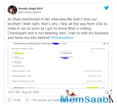 Shweta's contention is that her late brother's girlfriend Rhea has tarnished his image on national media with all that she said.