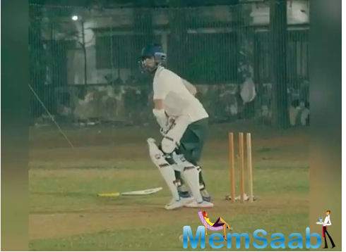 In the video, the actor can be seen honing his batting skills.