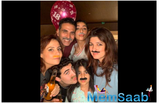 Sharing a picture where she could be seen partying with Aarav, the birthday boy, daughter Nitara, and Akshay Kumar, who could be seen in his Bell Bottom look, this is what she wrote for him.